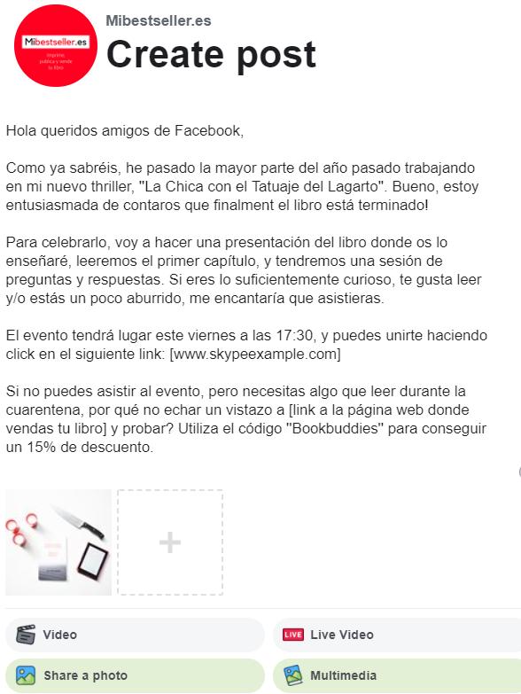 Invitación pública de presentación de libros online en Facebook