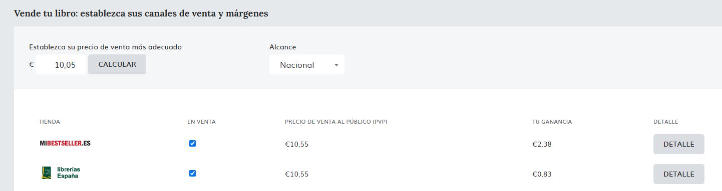 ejemplo de precio de venta de un libro de bolsillo en Mibestseller
